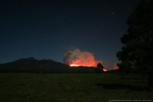 Schultz Fire at night. Credit: Calvin Johnson, Leupp, Arizona